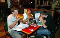 People pigging out